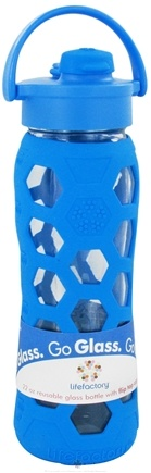 Lifefactory - Glass Beverage Bottle With Silicone Sleeve and Flip Top Cap Ocean Blue - 22 oz.