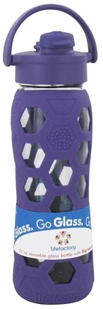 Lifefactory - Glass Beverage Bottle With Silicone Sleeve and Flip Top Cap Royal Purple - 22 oz.