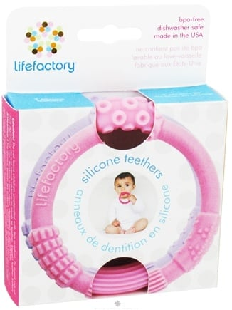 DROPPED: Lifefactory - Multi-Sensory Silicone Teethers Pink & Lilac - 2 Pack CLEARANCE PRICED