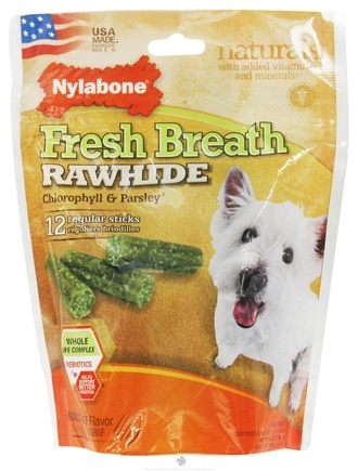 DROPPED: Nylabone - Fresh Breath Rawhide With Chlorophyll & Parsley Regular Dog Treats Roast Beef - 12 Stick(s)