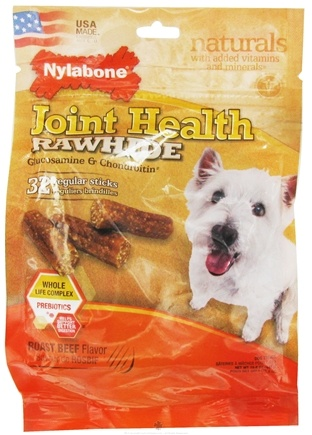DROPPED: Nylabone - Joint Health Rawhide With Glucosamine & Chondroitin Regular Dog Treats Roast Beef - 32 Stick(s) CLEARANCE PRICED