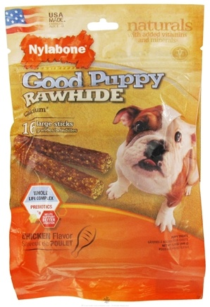 DROPPED: Nylabone - Good Puppy Rawhide With Calcium Large Dog Treats Chicken - 16 Stick(s) CLEARANCE PRICED