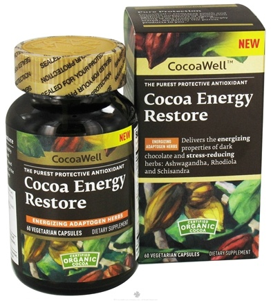 DROPPED: CocoaWell - Cocoa Energy Restore - 60 Vegetarian Capsules CLEARANCE PRICED