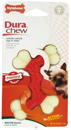 DROPPED: Nylabone - Dura Chew Double Bone Petite For Powerful Chews Up To 15 lbs. Bacon Flavored - CLEARANCE PRICED