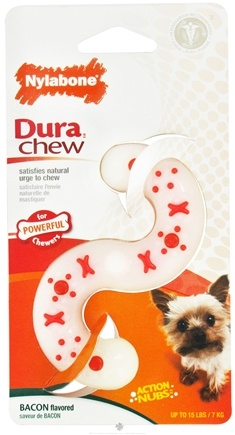 DROPPED: Nylabone - Dura Chew S Shape Petite For Powerful Chewers Up To 15 lbs. Bacon Flavored