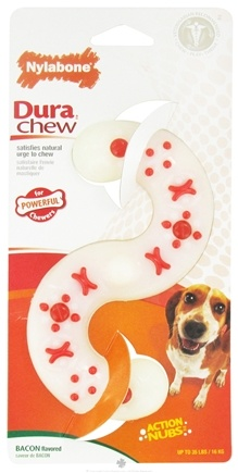 DROPPED: Nylabone - Dura Chew S Shape Wolf For Powerful Chewers Up To 35 lbs. Bacon Flavored - CLEARANCE PRICED