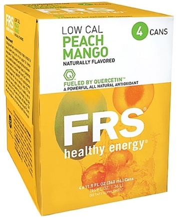 DROPPED: FRS Healthy Energy - All Natural Energy + Endurance Low Calorie Drink Peach Mango - 4 Pack