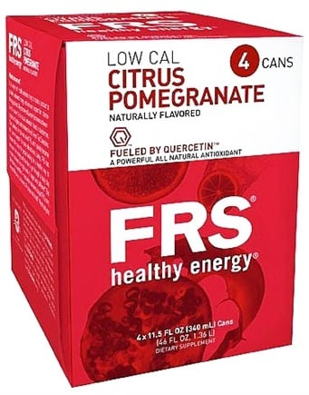 DROPPED: FRS Healthy Energy - Low Calorie Energy Drink 4 x 11.5 oz Cans Citrus Pomegranate - 4 Pack CLEARANCE PRICED