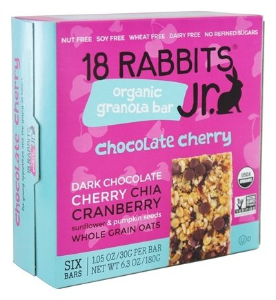 18 Rabbits - Organic Granola Jr. Bar Chocolate Cherry - 6 Bars