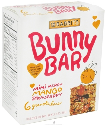 DROPPED: 18 Rabbits - Bunny Bar Organic Granola Mimi Merry Mango Strawberry - 6 x 1.05 oz.(30g) Bars