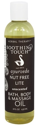 Soothing Touch - Bath, Body & Massage Oil Unscented Nut Free Lite - 8 oz. LUCKY PRICE
