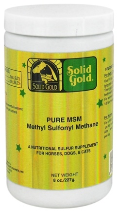 DROPPED: Solid Gold - Pure MSM Methyl Sulfonyl Methane For Horses, Dogs & Cats - 8 oz. CLEARANCED PRICED