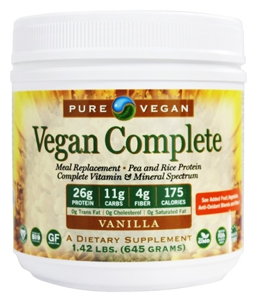 DROPPED: Pure Vegan - Vegan Complete Meal replacement with Multi-GuarD Vanilla - 1.42 lbs.