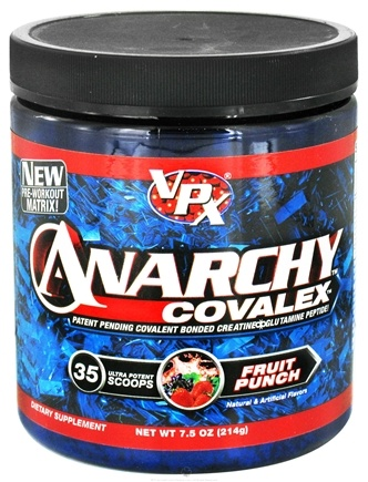 DROPPED: VPX - Anarchy Covalex Patent Pending Covalent Bonded Creatine Glutamine Peptide Fruit Punch - 7.6 oz.