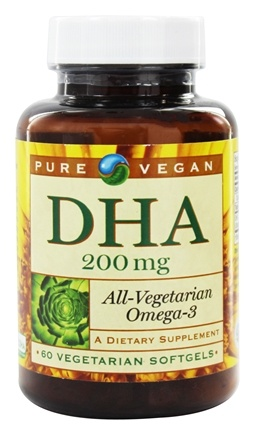 Pure Vegan - DHA 200 mg. - 60 Vegetarian Softgels