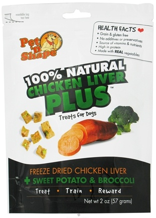 DROPPED: Pet 'N Shape - 100% Natural Chicken Liver Plus Treats For Dogs Sweet Potato & Broccoli - 2 oz. CLEARANCE PRICED