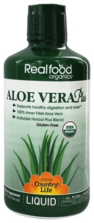 Country Life - Real Food Organics Liquid Aloe Vera Plus - 32 oz.