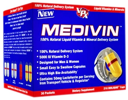 DROPPED: VPX - Medivin 100% Natural Liquid Vitamin & Mineral Delivery System - 210 BioLiquid Caps - 30 Packet(s) CLEARANCE PRICED