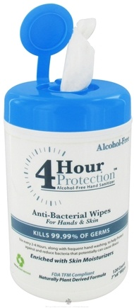 DROPPED: 4 Hour Protection - Alcohol-Free AntiBacterial Wipes For Hands and Skin - 120 Count