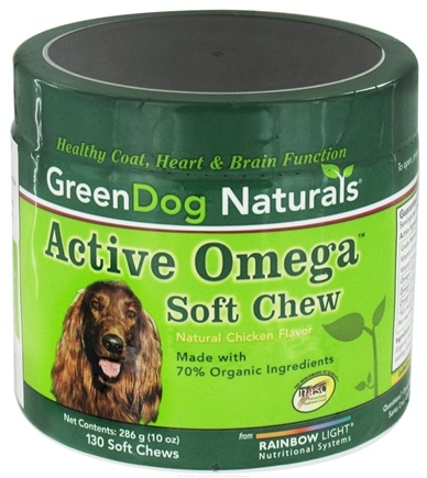 DROPPED: Green Dog Naturals - Active Omega Soft Chew For Dogs Natural Chicken Flavor - 130 Soft Chews