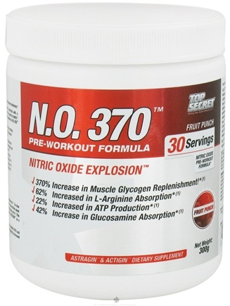 DROPPED: Top Secret Nutrition - N.O. 370 Pre-Workout Formula Fruit Punch - 300 Grams