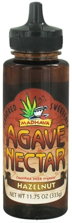 DROPPED: Madhava Natural Sweeteners - Agave Nectar Flavored Sweetener Hazelnut - 11.75 oz. CLEARANCE PRICED