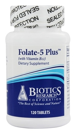 Biotics Research - Folate-5 Plus with Vitamin B12 - 120 Tablets
