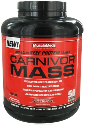 DROPPED: MuscleMeds - Carnivor Mass Anabolic Beef Protein Gainer Chocolate - 6 lbs. CLEARANCE PRICED