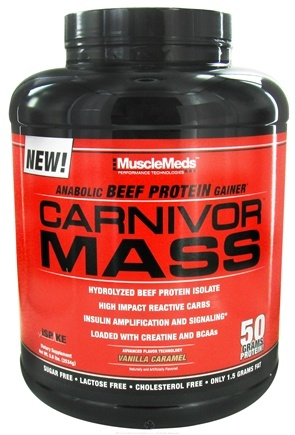 DROPPED: MuscleMeds - Carnivor Mass Anabolic Beef Protein Gainer Vanilla Caramel - 6 lbs. CLEARANCE PRICED