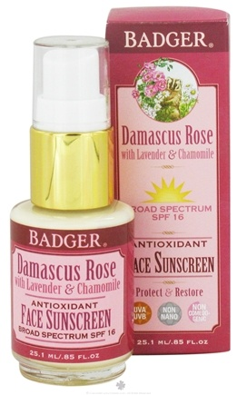 DROPPED: Badger - Antioxidant Face Sunscreen Damascus Rose with Lavender and Chamomile 16 SPF - 0.85 oz.