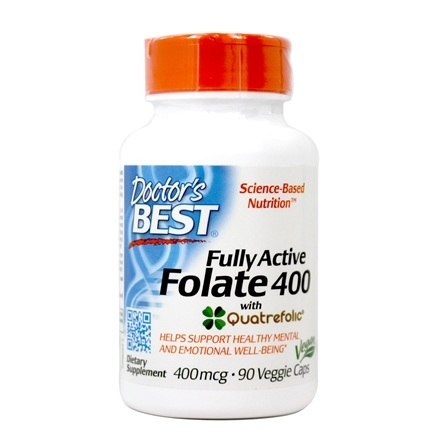 Doctor's Best - Fully Active Folate with Quatrefolic 400 mcg. - 90 Vegetarian Capsules