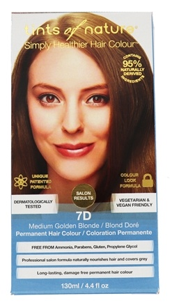 Tints Of Nature - Conditioning Permanent Hair Color 7D Medium Golden Blonde - 4.4 oz.