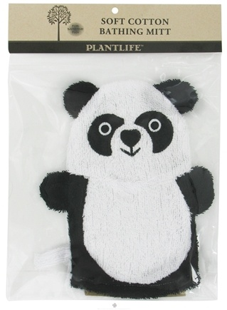 DROPPED: Plantlife Natural Body Care - Soft Cotton Ramie Bathing Mitt Panda - CLEARANCE PRICED