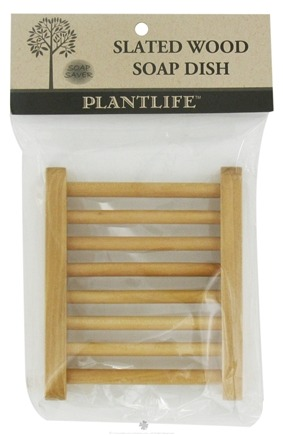 DROPPED: Plantlife Natural Body Care - Slated Wood Soap Dish - CLEARANCE PRICED