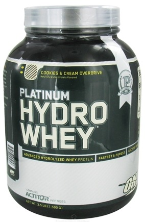 DROPPED: Optimum Nutrition - Platinum Hydro Whey Advanced Hydrolyzed Whey Protein Cookies & Cream Overdrive - 3.5 lbs.