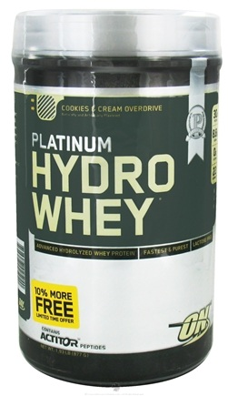 DROPPED: Optimum Nutrition - Platinum Hydro Whey Advanced Hydrolyzed Whey Protein Cookies & Cream Overdrive - 1.93 lbs.