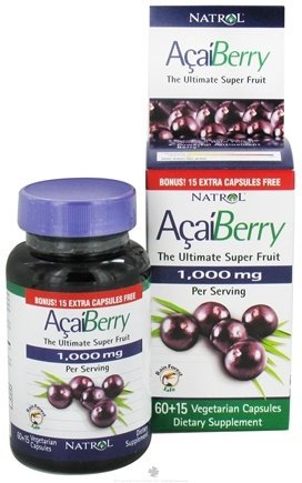 DROPPED: Natrol - AcaiBerry Ultimate Super Fruit 1000 mg. - Bonus Size 60+15 Vegetarian Capsules CLEARANCE PRICED