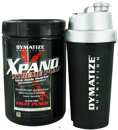 DROPPED: Dymatize Nutrition - Xpand Xtreme Pump Nitric Oxide Reactor With Free Shaker Fruit Punch - 1.76 lbs. CLEARANCE PRICED