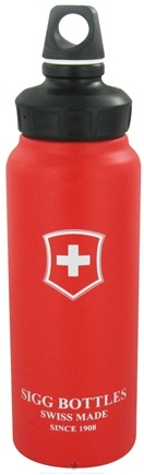 DROPPED: Sigg - Aluminum Water Bottle Wide Mouth Swiss Emblem Red - 1 Liter CLEARANCE PRICED
