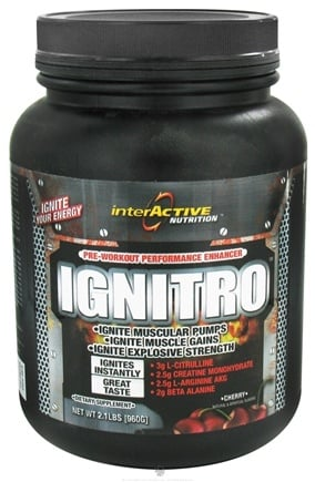 DROPPED: InterActive Nutrition - Ignitro Pre-Workout Performance Enhancer Cherry - 2.1 lbs. CLEARANCE PRICED