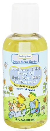 DROPPED: Healthy Times - Baby's Herbal Garden Baby Oil Sunflower Petal Fragrance Free - 4 oz. CLEARANCE PRICED