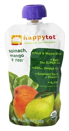 HappyFamily - HappyTot Organic Superfoods Stage 4 Spinach, Mango & Pear - 4.22 oz.