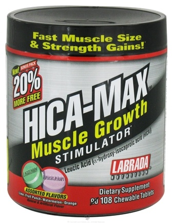 DROPPED: Labrada -  Hica-Max Muscle Growth Stimulator Bonus Size - 108 Chewable Tablets
