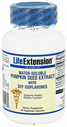 DROPPED: Life Extension - Water-Soluable Pumpkin Seed Extract with Soy Isoflavones 312 mg. - 60 Vegetarian Capsules CLEARANCE PRICED