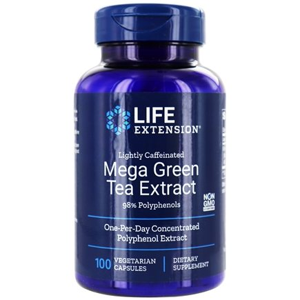 Life Extension - Mega Green Tea Extract Lightly Caffeinated with 98% Polyphenols 725 mg. - 100 Vegetarian Capsules