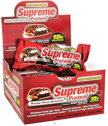 DROPPED: Supreme Protein - Carb Conscious Bar 15g Protein Rocky Road Brownie - 1.75 oz. CLEARANCE PRICED
