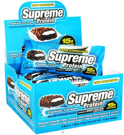 DROPPED: Supreme Protein - Carb Conscious Bar 15g Protein Cookies 'n Cream - 1.59 oz. CLEARANCE PRICED