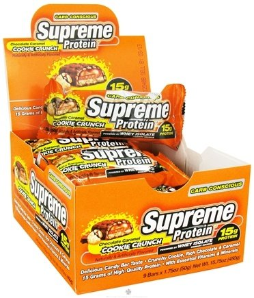 DROPPED: Supreme Protein - Carb Conscious Bar 15g Protein Chocolate Caramel Cookie Crunch - 1.75 oz.
