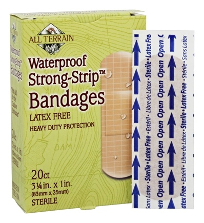 DROPPED: All Terrain - Waterproof Strong-Strip Bandages Latex Free - 20 Bandage(s)