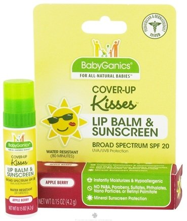 DROPPED: BabyGanics - Cover-Up Kisses Lip Balm & Sunscreen Water Resistant Apple Berry 20 SPF - 0.15 oz. CLEARANCE PRICED